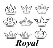 Hand drawn crowns logo and icon collection. Stock vector illustration Stock Photography