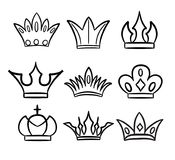 Hand drawn crowns logo and icon collection. Stock vector illustration Stock Images