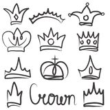 Hand drawn crowns logo and icon  design set collection. Eps 10 Stock Photo