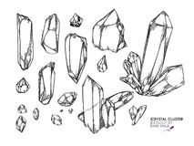 Free Hand Drawn Crystal Cluster. Vector Mineral Illustration. Amethyst Or Quartz Stone. Isolated Natural Gem. Geology Set Stock Photo - 151484070