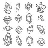 Hand drawn crystals graphic set. Vector vintage illustration. Stock Images