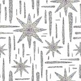 Hand drawn crystals pattern. Abstract stars seamless background. Vector texture for wallpaper, wrapping paper, textile. Hand drawn crystals pattern. Abstract Royalty Free Stock Photography