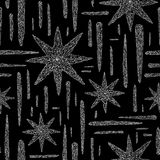 Hand drawn crystals pattern. Abstract stars seamless background. Vector texture for wallpaper, wrapping paper, textile Stock Photos