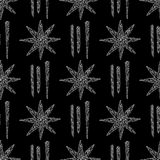 Hand drawn crystals pattern. Abstract stars seamless background. Vector texture for wallpaper, wrapping paper, textile Stock Photography