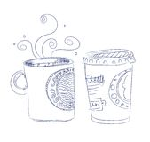 Hand drawn cup of coffee. Vector illustration Royalty Free Stock Photos