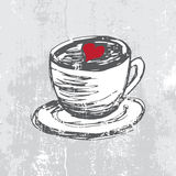 Hand drawn cup with coffee. And heart shape Stock Photos