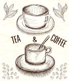 Hand drawn cup of coffee and tea Royalty Free Stock Photo