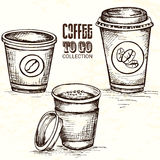 Hand drawn cup of coffee to go Royalty Free Stock Images