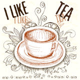 Hand drawn a cup with tea elements. Hand drawn a cup of tea with graphic elements in sketch style with leaves, sugar, swirl and title 'I like tea' in brown Stock Image