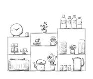 Hand drawn cupboard with dishes. Stock Images