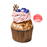 Hand drawn cupcake in color Royalty Free Stock Image