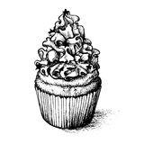 Hand drawn cupcake  for coloring book Royalty Free Stock Images