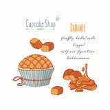 Hand drawn cupcake with doodle buttercream for pastry shop menu. Caramel candy flavor. Vector illustration Royalty Free Stock Photos