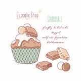 Hand drawn cupcake with doodle buttercream for pastry shop menu. Milk and white chocolate flavor. Vector illustration Royalty Free Stock Images