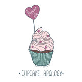 Hand drawn cupcake with heart. Template for cards. Vector illustration.  Stock Images