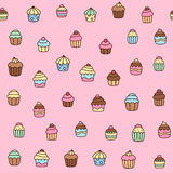 Hand drawn cupcake seamless pattern Royalty Free Stock Photography