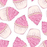 Hand drawn cupcake seamless pattern Stock Images