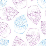 Hand drawn cupcake seamless pattern. Outline doodle dessert background Royalty Free Stock Photo