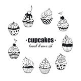 Hand drawn cupcakes Stock Images