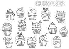 Hand drawn cupcakes set. Coloring book page template. Outline doodle vector illustration Stock Image