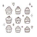 Hand drawn cupcakes Stock Image