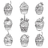 Hand drawn cupcakes royalty free illustration