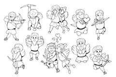 Hand drawn cupids. Doodle style. Happy valentines day. Stock Images