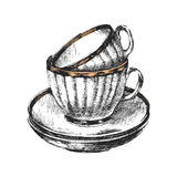 Hand drawn cups with saucers. 2 hand drawn cups with saucers stock illustration