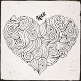 Hand drawn curled vector heart Royalty Free Stock Images