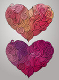 Hand drawn curled vector heart set Royalty Free Stock Photos