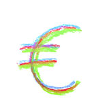 Hand drawn currency symbol isolated. Hand drawn with a colorful chalk currency symbol isolated over the white background Stock Photography