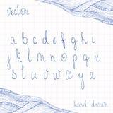 Hand Drawn Cursive Alphabet. Set of ABC letters doodle script. Zentangle border added. Handmade scribble calligraphy. Deep blue ink pen imitation Stock Image