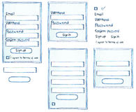 Hand-drawn customer member login sign up form Stock Photography