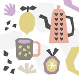 Hand drawn cut paper pattern background, tea pot, cup, mug and fruits. Vector illustration. Textile print, modern decoration elements, scandinavian style Royalty Free Stock Image