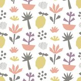 Hand drawn cut paper seamless pattern, flowers, tropical plants and fruits Royalty Free Stock Photo