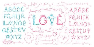 Hand drawn cute alphabet. Valentine s day, love stock illustration