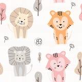 Hand drawn cute animal pattern stock illustration