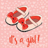 Cute baby shoes for newborn girl. It`s a girl invitation for a party. Vector illustration on heart pattern background. Hand drawn cute baby shoes for newborn royalty free illustration