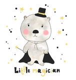 Hand drawn cute bear with hand drawn lettering little magician. Can be used for t-shirt design. Stock Photos