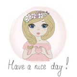 Hand Drawn cute Beautiful romantic girl. vector print Royalty Free Stock Photo