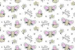 Hand drawn butterflies seamless pattern Stock Images