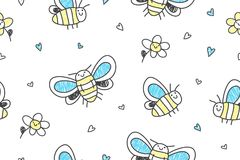 Hand drawn butterflies seamless pattern Royalty Free Stock Image