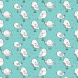 Hand Drawn Cute Bird Pattern Background. vector illustration