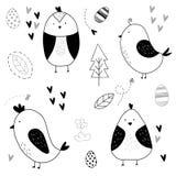 Hand drawn cute bird pattern royalty free illustration