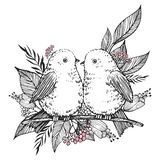 Hand Drawn cute birds, flowers and leaves. Vector royalty free illustration