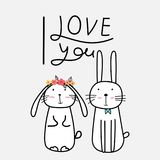 Hand Drawn Cute Bunnies With `I Love You` Typography. Vector Illustration royalty free illustration