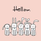Hand Drawn Cute Bunnies With Say Hello. Vector Illustration stock illustration