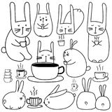 Hand Drawn Cute Bunny Characters With Coffee Set. Doodle Art. Royalty Free Stock Photography