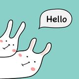 Hand Drawn Cute Bunny With Say Hello Vector Illustration. Hand Drawn Cute Bunny With Say Hello Design Element Vector Illustration Stock Image