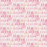 Hand Drawn Cute Bunny Vector Pattern Background. Doodle Funny.